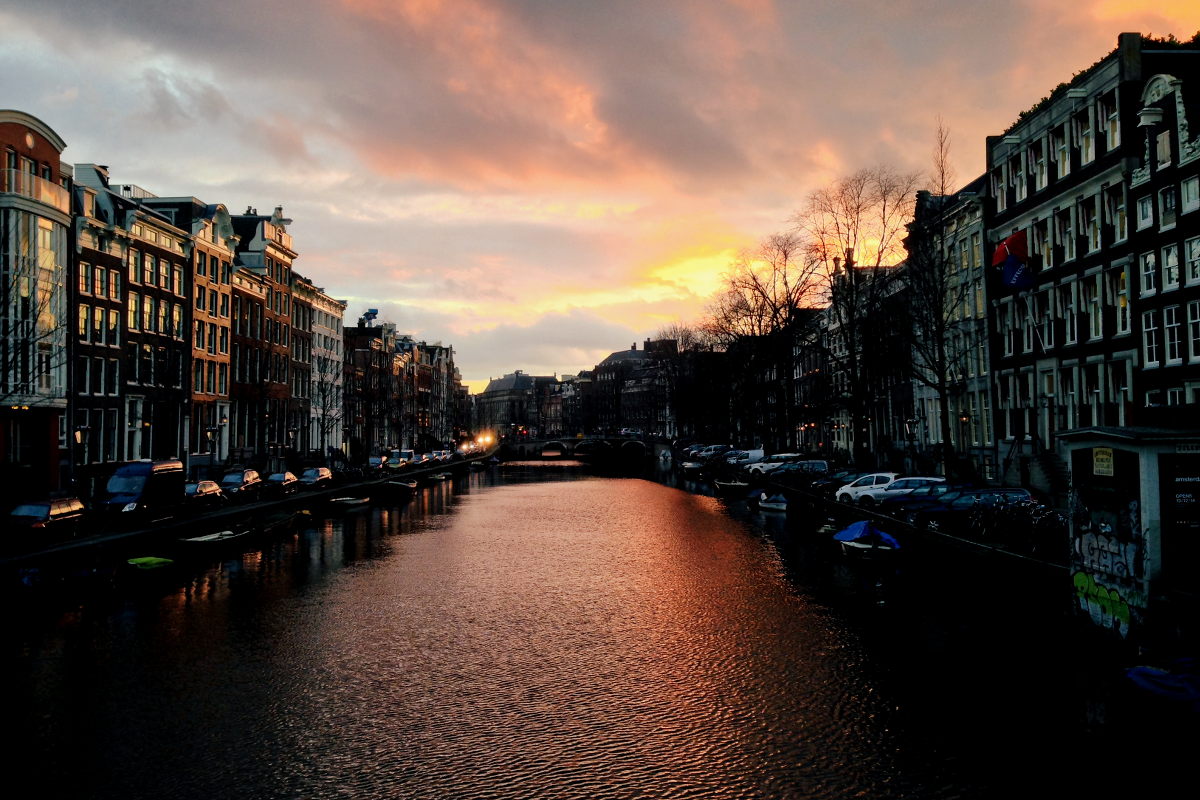 Amsterdam Gracht Sunset
