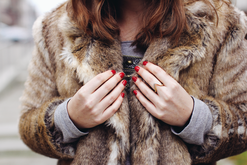 Fake Fur Outfit Detail Red Nails