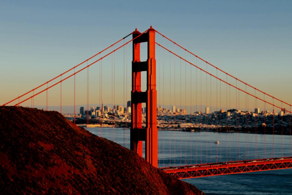 San Francisco Golden Gate Bridge Sunset Detail